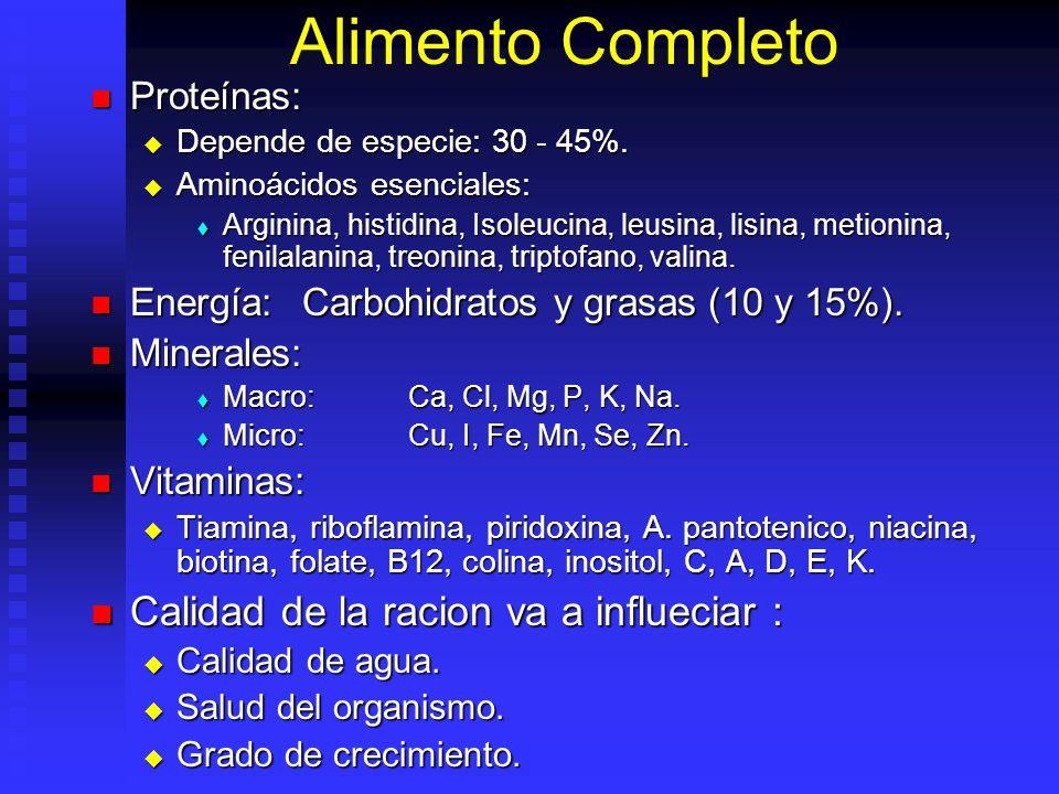 Alimento Completo Proteínas: Proteínas: Depende de especie: 30 - 45%. Depende de especie: 30 - 45%. Aminoácidos esenciales: Aminoácidos esenciales: Ar