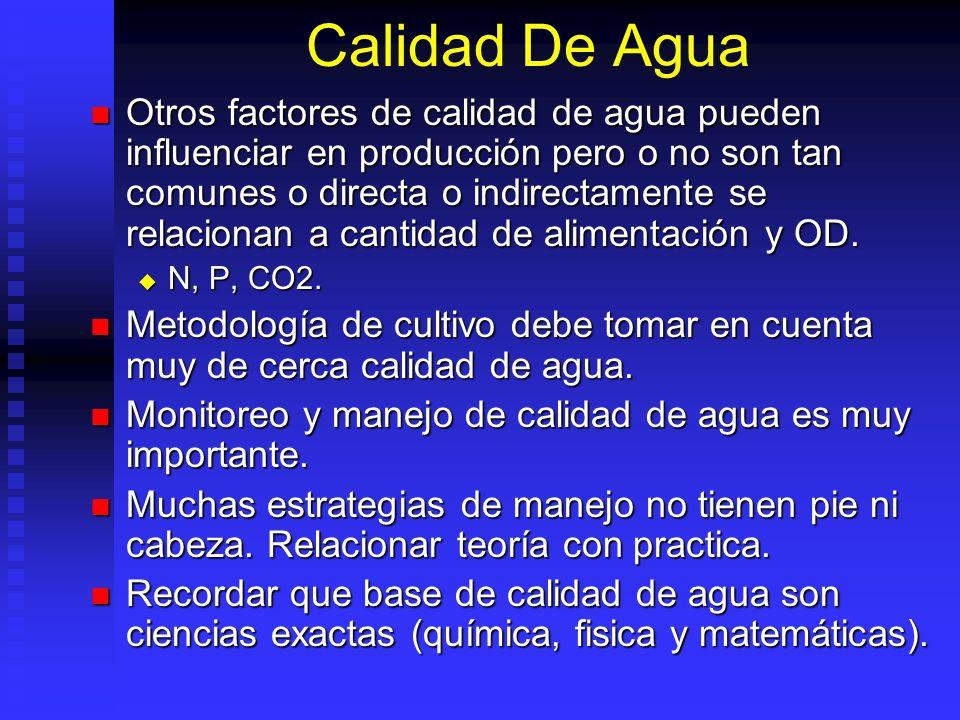 Calidad De Agua Otros factores de calidad de agua pueden influenciar en producción pero o no son tan comunes o directa o indirectamente se relacionan