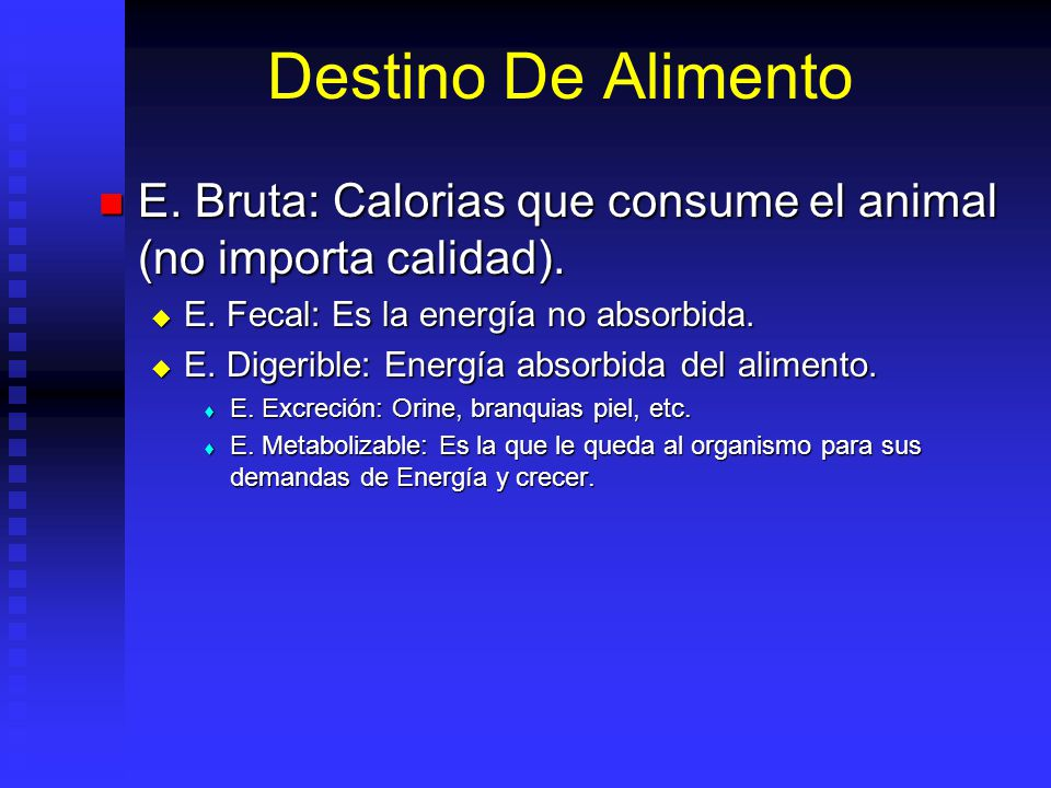 E. Bruta: Calorias que consume el animal (no importa calidad). E. Bruta: Calorias que consume el animal (no importa calidad). E. Fecal: Es la energía