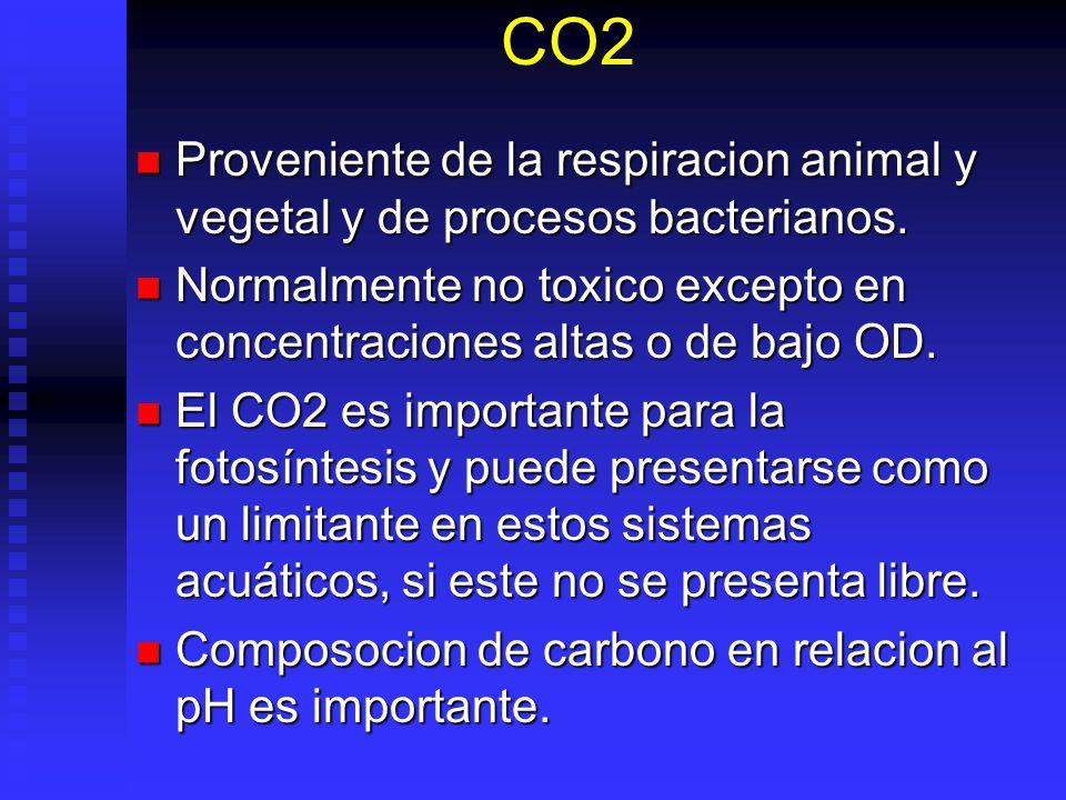 CO2 Proveniente de la respiracion animal y vegetal y de procesos bacterianos. Proveniente de la respiracion animal y vegetal y de procesos bacterianos