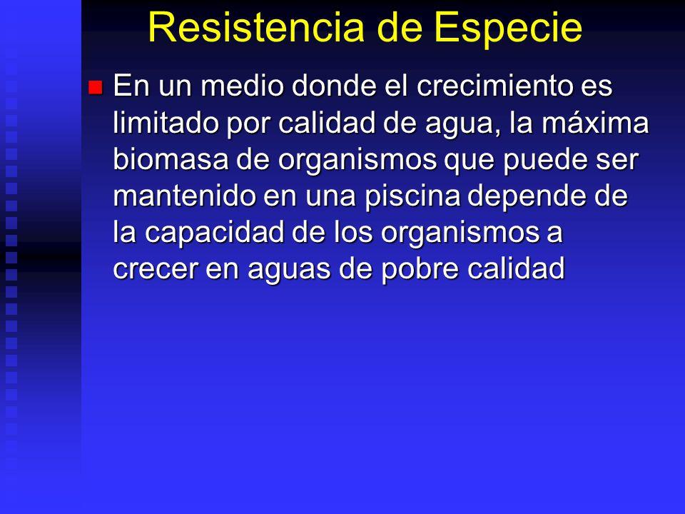 Resistencia de Especie En un medio donde el crecimiento es limitado por calidad de agua, la máxima biomasa de organismos que puede ser mantenido en un