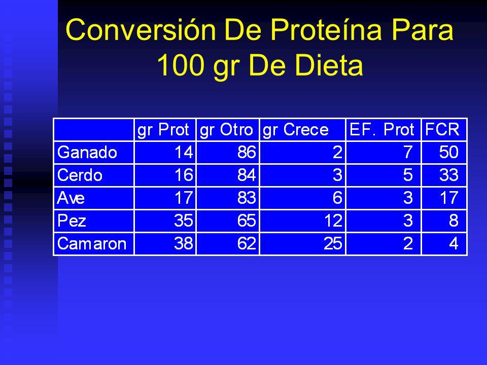 Alimento Completo Proteínas: Proteínas: Depende de especie: 30 - 45%.