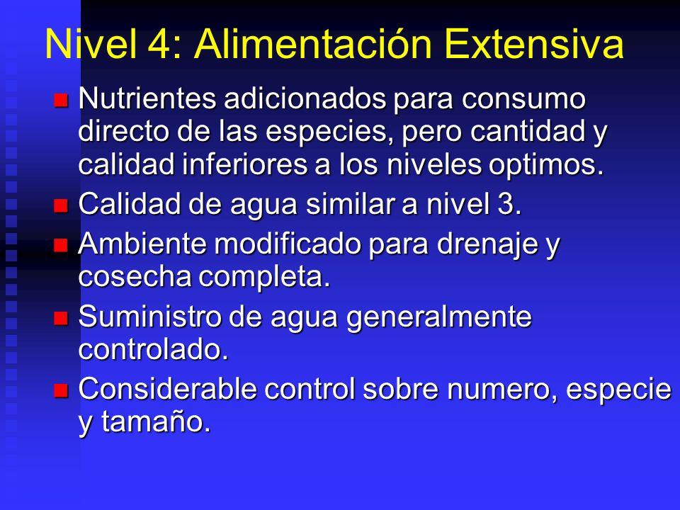 Nivel 4: Alimentación Extensiva Nutrientes adicionados para consumo directo de las especies, pero cantidad y calidad inferiores a los niveles optimos.