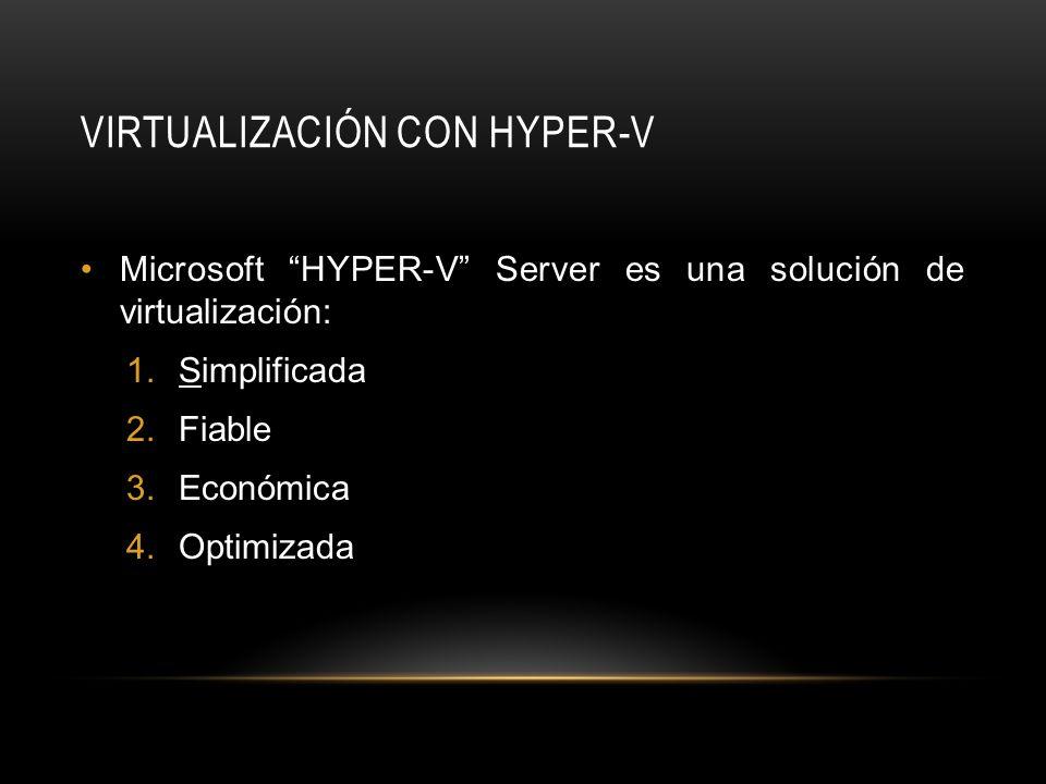 VIRTUALIZACIÓN CON HYPER-V Microsoft HYPER-V Server es una solución de virtualización: 1.Simplificada 2.Fiable 3.Económica 4.Optimizada