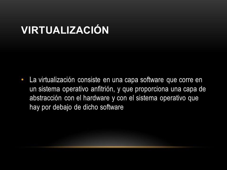 VIRTUALIZACIÓN La virtualización consiste en una capa software que corre en un sistema operativo anfitrión, y que proporciona una capa de abstracción con el hardware y con el sistema operativo que hay por debajo de dicho software