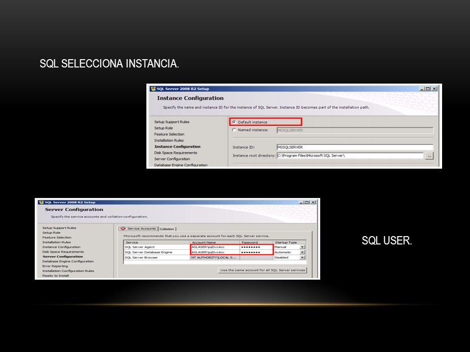 SQL SELECCIONA INSTANCIA. SQL USER.