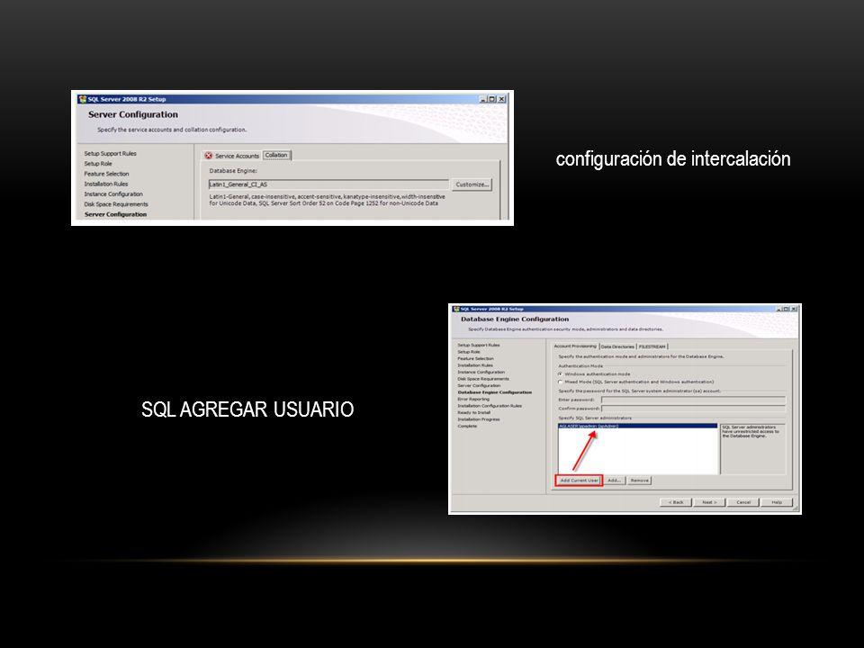 configuración de intercalación SQL AGREGAR USUARIO