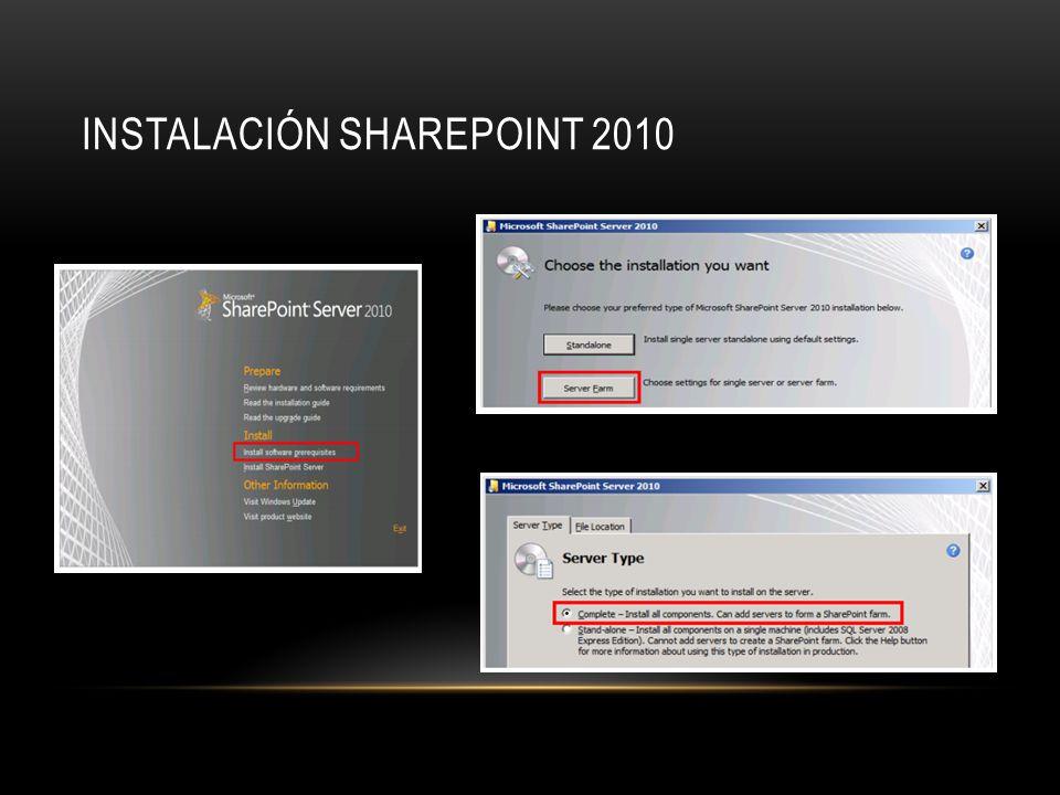 INSTALACIÓN SHAREPOINT 2010