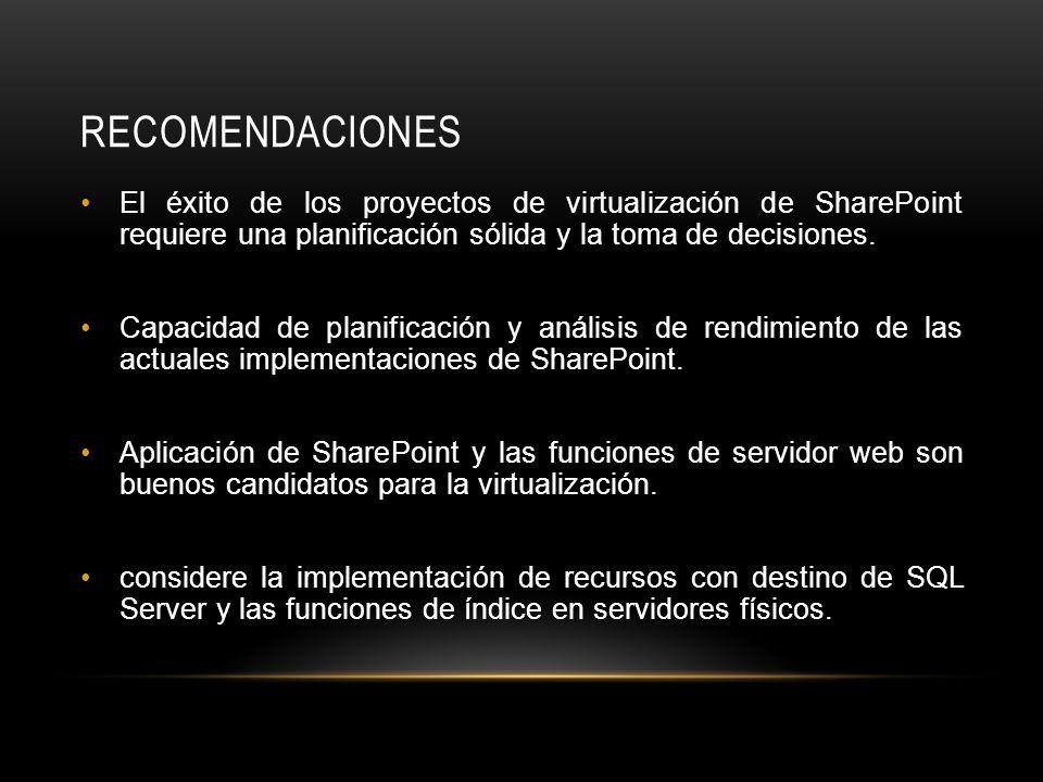 RECOMENDACIONES El éxito de los proyectos de virtualización de SharePoint requiere una planificación sólida y la toma de decisiones.