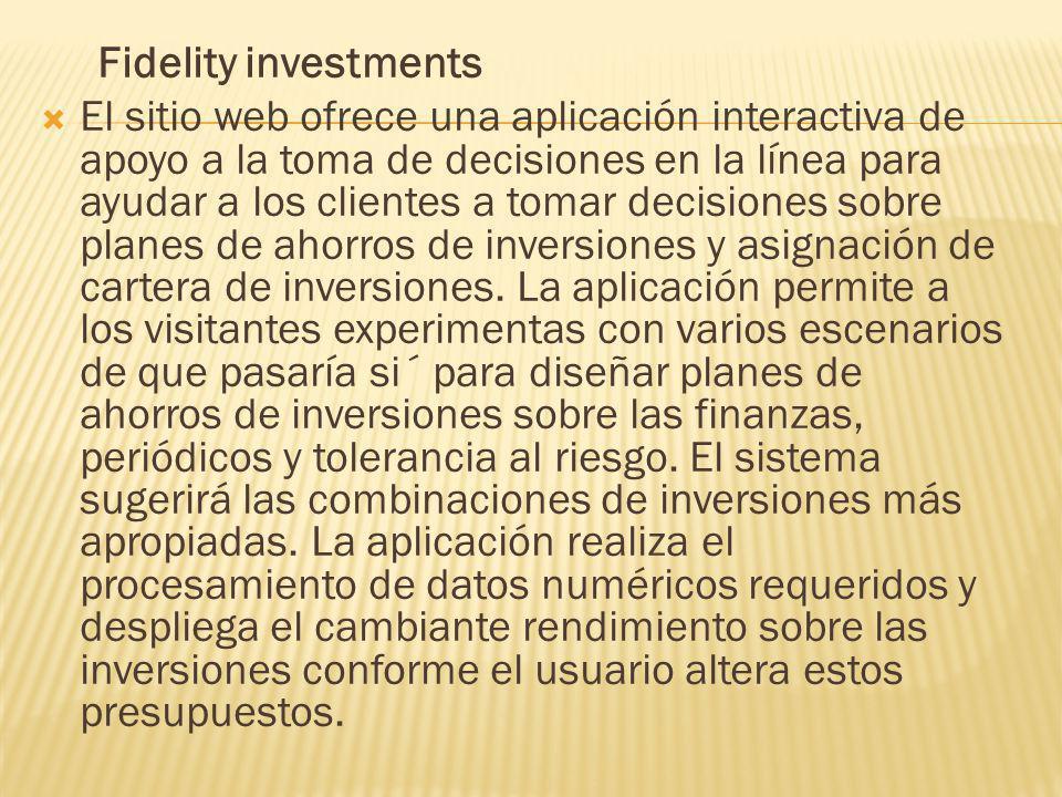 Fidelity investments El sitio web ofrece una aplicación interactiva de apoyo a la toma de decisiones en la línea para ayudar a los clientes a tomar decisiones sobre planes de ahorros de inversiones y asignación de cartera de inversiones.
