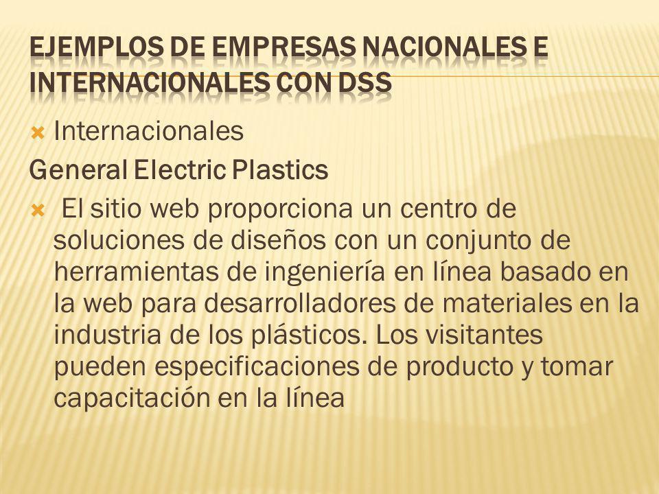 Internacionales General Electric Plastics El sitio web proporciona un centro de soluciones de diseños con un conjunto de herramientas de ingeniería en línea basado en la web para desarrolladores de materiales en la industria de los plásticos.