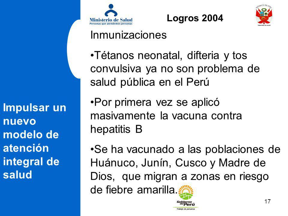 17 Impulsar un nuevo modelo de atención integral de salud Inmunizaciones Tétanos neonatal, difteria y tos convulsiva ya no son problema de salud públi