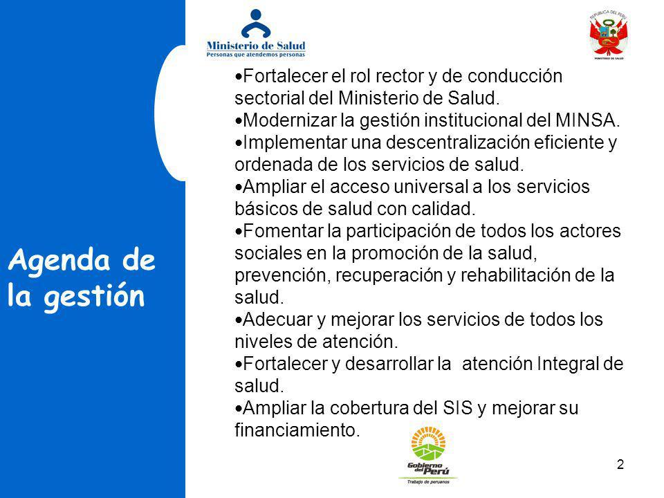 2 Agenda de la gestión Fortalecer el rol rector y de conducción sectorial del Ministerio de Salud. Modernizar la gestión institucional del MINSA. Impl