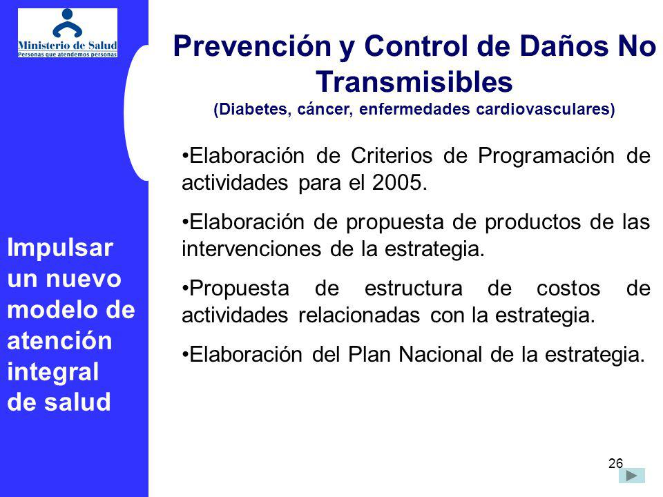 26 Prevención y Control de Daños No Transmisibles (Diabetes, cáncer, enfermedades cardiovasculares) Elaboración de Criterios de Programación de activi