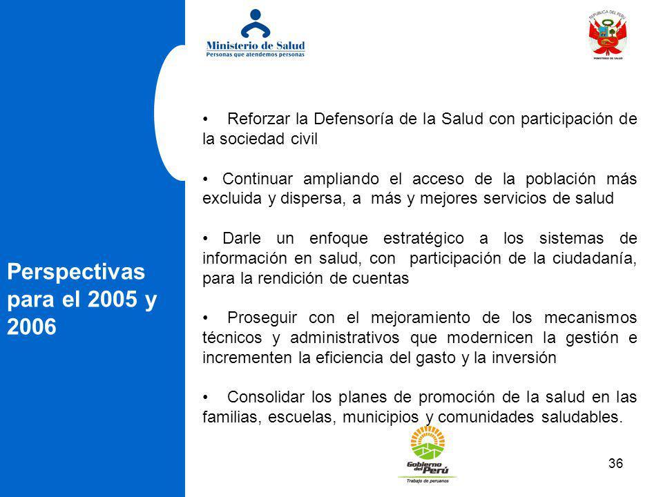 36 Perspectivas para el 2005 y 2006 Reforzar la Defensoría de la Salud con participación de la sociedad civil Continuar ampliando el acceso de la pobl