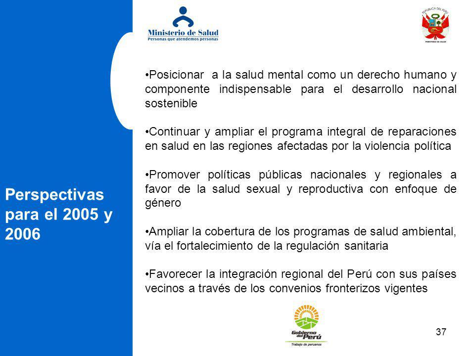 37 Perspectivas para el 2005 y 2006 Posicionar a la salud mental como un derecho humano y componente indispensable para el desarrollo nacional sosteni