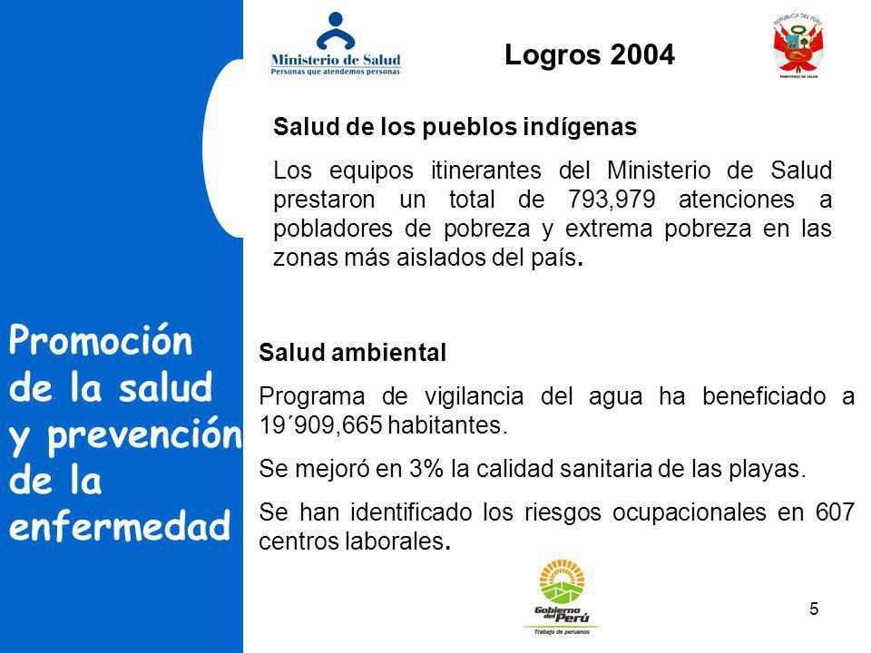 5 Promoción de la salud y prevención de la enfermedad Salud de los pueblos indígenas Los equipos itinerantes del Ministerio de Salud prestaron un tota