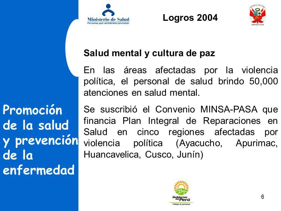 6 Promoción de la salud y prevención de la enfermedad Salud mental y cultura de paz En las áreas afectadas por la violencia política, el personal de s