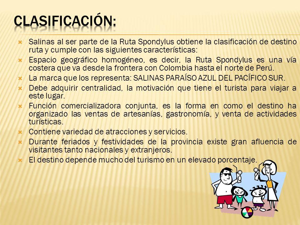 Salinas al ser parte de la Ruta Spondylus obtiene la clasificación de destino ruta y cumple con las siguientes características: Espacio geográfico hom