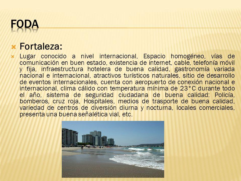 Fortaleza: Lugar conocido a nivel internacional, Espacio homogéneo, vías de comunicación en buen estado, existencia de internet, cable, telefonía móvi