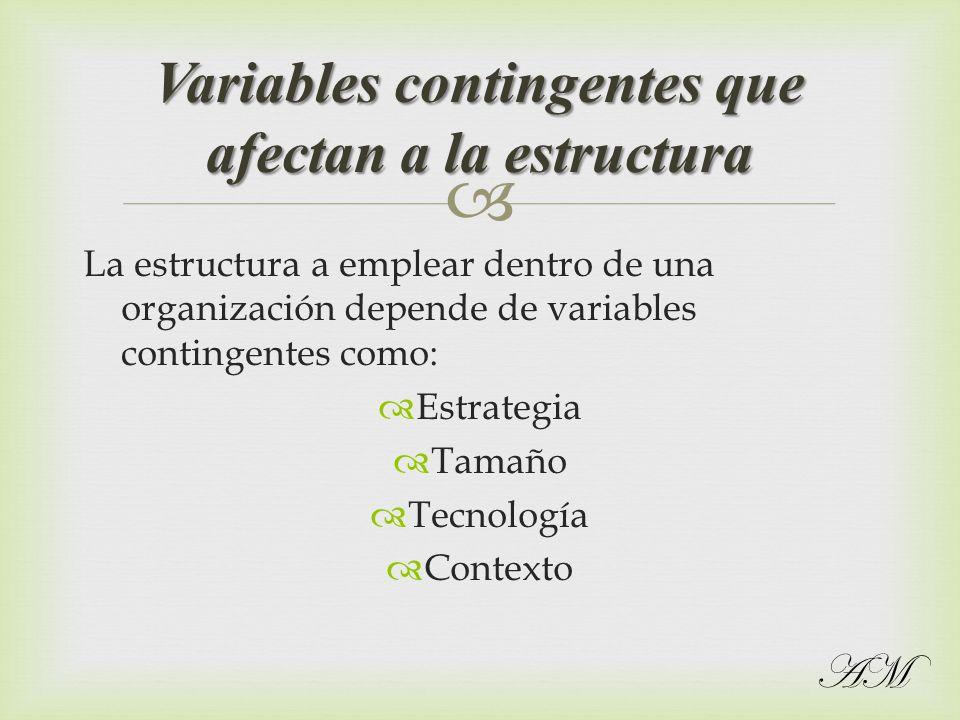La estructura a emplear dentro de una organización depende de variables contingentes como: Estrategia Tamaño Tecnología Contexto Variables contingente
