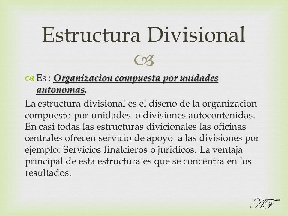 Organizacion compuesta por unidades autonomas Es : Organizacion compuesta por unidades autonomas. La estructura divisional es el diseno de la organiza