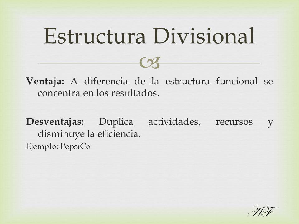 Ventaja: A diferencia de la estructura funcional se concentra en los resultados. Desventajas: Duplica actividades, recursos y disminuye la eficiencia.