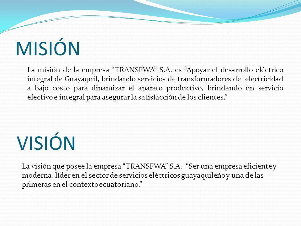 MISIÓN La misión de la empresa TRANSFWA S.A.