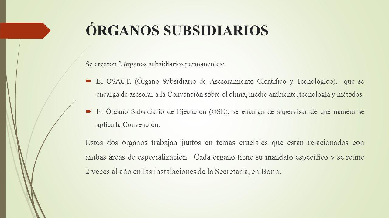 ÓRGANOS SUBSIDIARIOS Se crearon 2 órganos subsidiarios permanentes: El OSACT, (Órgano Subsidiario de Asesoramiento Científico y Tecnológico), que se encarga de asesorar a la Convención sobre el clima, medio ambiente, tecnología y métodos.