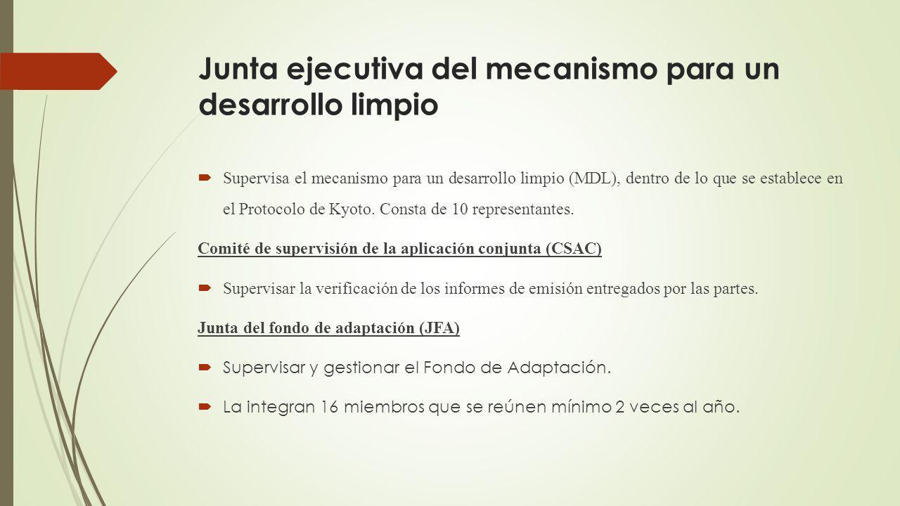 Junta ejecutiva del mecanismo para un desarrollo limpio Supervisa el mecanismo para un desarrollo limpio (MDL), dentro de lo que se establece en el Protocolo de Kyoto.