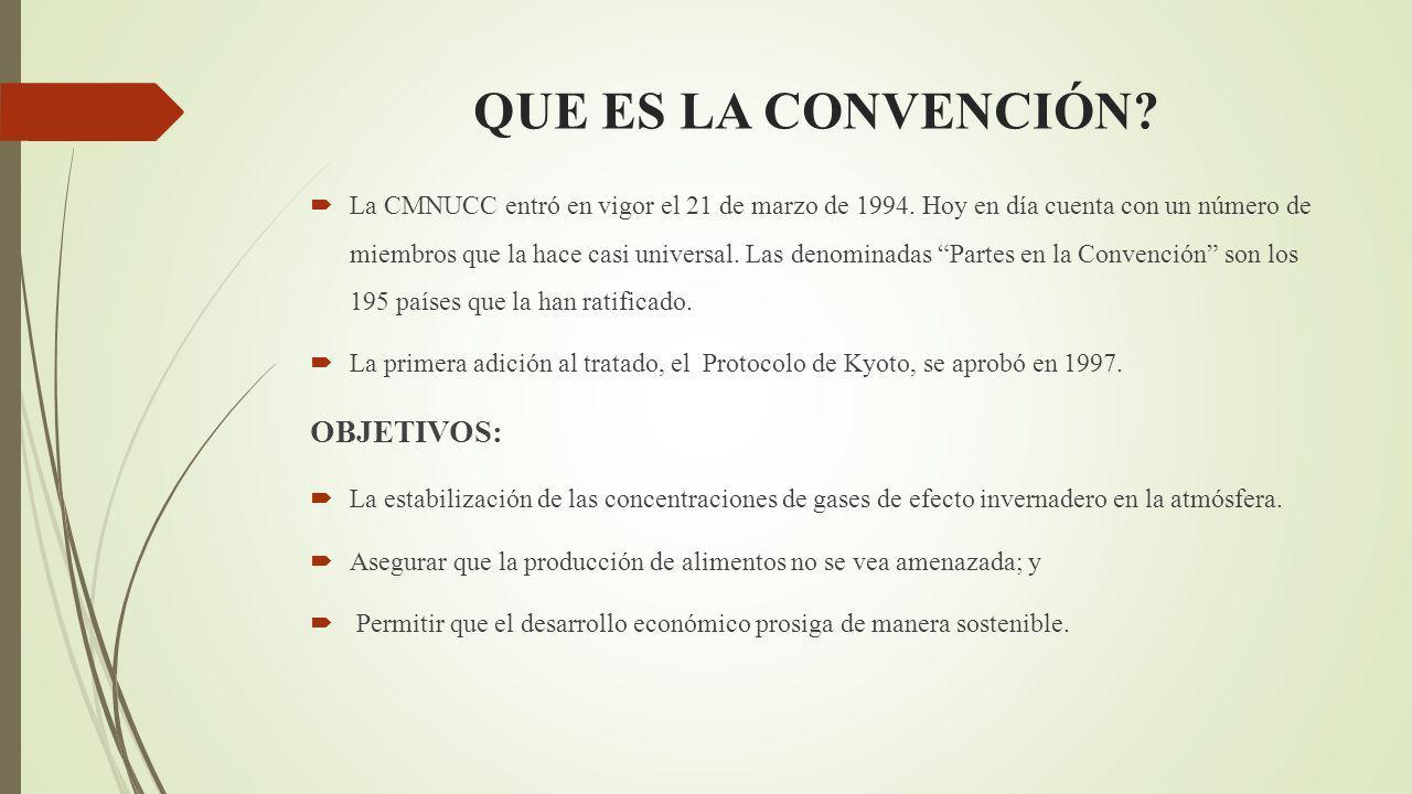 QUE ES LA CONVENCIÓN.La CMNUCC entró en vigor el 21 de marzo de 1994.