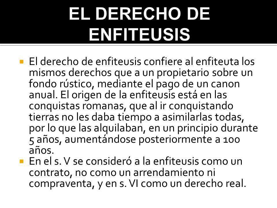 1)Elementos formales, personales y reales de la enfiteusis: - Formales: se dividen en intervivos, judiciales, mortis causa y temporal.