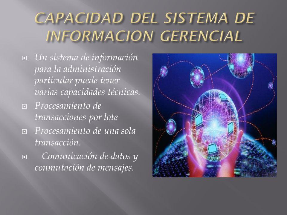 Un sistema de información para la administración particular puede tener varias capacidades técnicas.