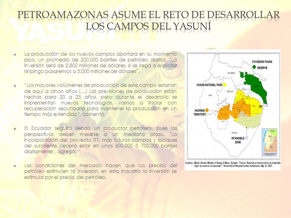 El presidente ha tomado la decisión de explotar los campos Yasuni Esta explotación ha sido encargado a PETROAMAZONAS Afortunadamente Petroamazonas ha tenido un programa de relacionamiento comunitario se construirá es la instalación de tuberías que evacúen el petróleo donde están las plataformas de perforación