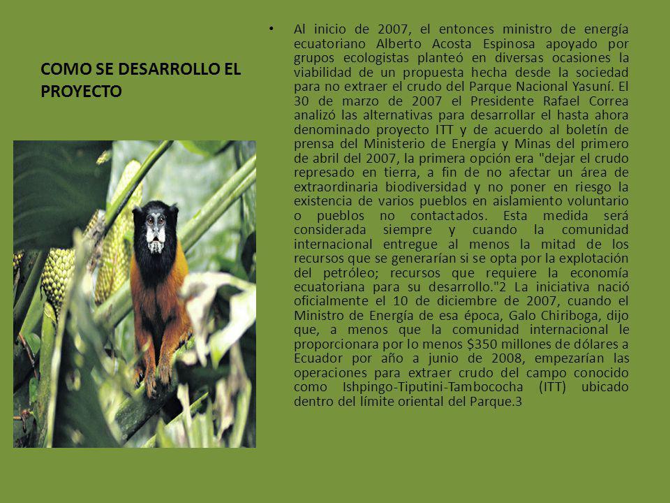 COMO SE DESARROLLO EL PROYECTO Al inicio de 2007, el entonces ministro de energía ecuatoriano Alberto Acosta Espinosa apoyado por grupos ecologistas p