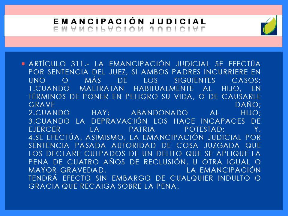 ARTÍCULO 311.- LA EMANCIPACIÓN JUDICIAL SE EFECTÚA POR SENTENCIA DEL JUEZ, SI AMBOS PADRES INCURRIERE EN UNO O MÁS DE LOS SIGUIENTES CASOS: 1.CUANDO M