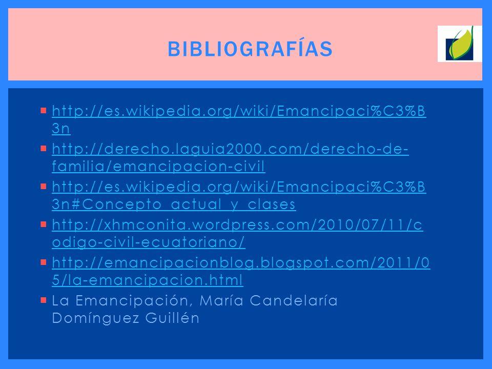 http://es.wikipedia.org/wiki/Emancipaci%C3%B 3n http://es.wikipedia.org/wiki/Emancipaci%C3%B 3n http://derecho.laguia2000.com/derecho-de- familia/eman