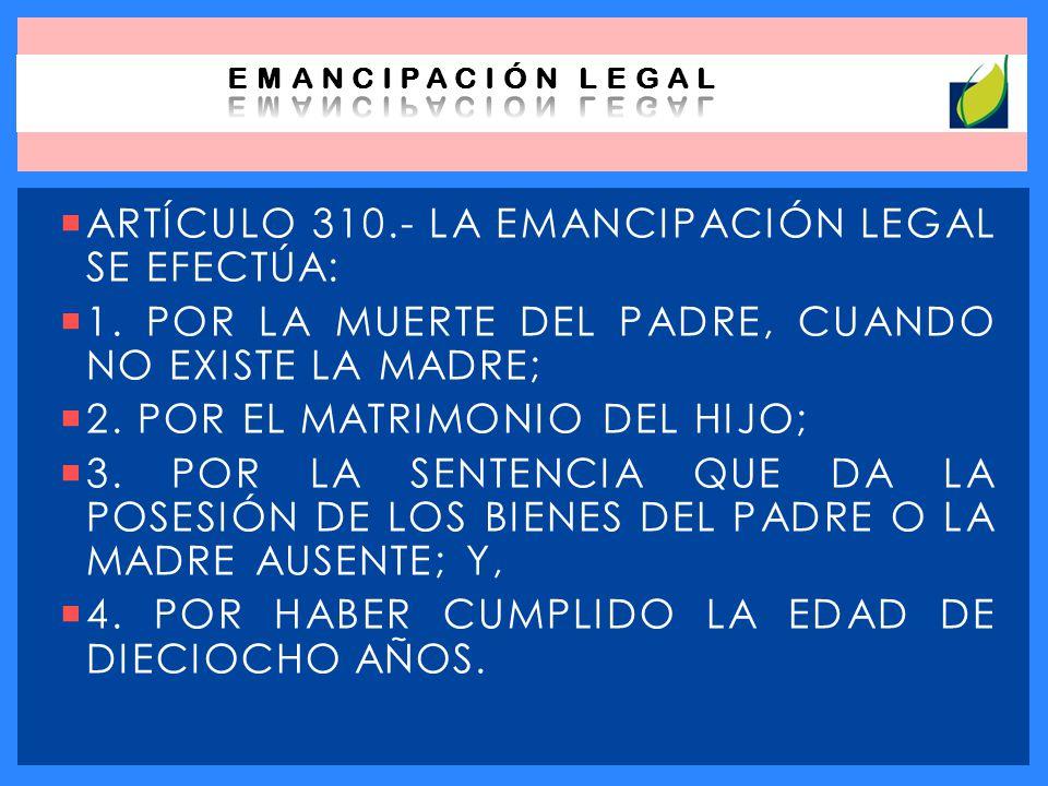 LA EMANCIPACIÓN LEGAL INCLUYE VARIAS RAZONES, EXPLICANDO GENERALMENTA CADA UNA DE ELLAS PODEMOS MENCIONAR QUE EN ESTOS CASOS LA EMANCIPACIÓN LA OCASIONA UNA CULMINACIÓN ANTICIPADA DEL RÉGIMEN DE PATRIA POTESTAD O TUTELA.