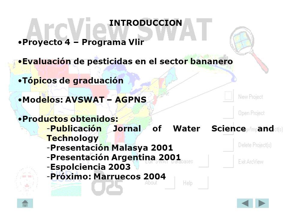 INTRODUCCION Proyecto 4 – Programa Vlir Evaluación de pesticidas en el sector bananero Tópicos de graduación Modelos: AVSWAT – AGPNS Productos obtenid