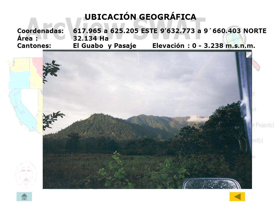 UBICACIÓN GEOGRÁFICA Coordenadas: 617.965 a 625.205 ESTE 9632.773 a 9´660.403 NORTE Área : 32.134 Ha Cantones:El Guabo y Pasaje Elevación : 0 - 3.238