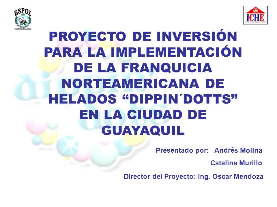 PROYECTO DE INVERSIÓN PARA LA IMPLEMENTACIÓN DE LA FRANQUICIA NORTEAMERICANA DE HELADOS DIPPIN´DOTTS EN LA CIUDAD DE GUAYAQUIL Presentado por: Andrés