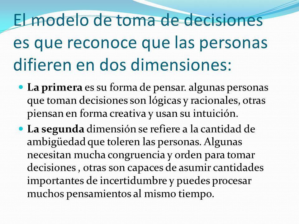 El modelo de toma de decisiones es que reconoce que las personas difieren en dos dimensiones: La primera es su forma de pensar.
