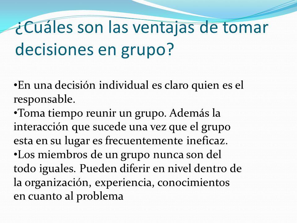 En una decisión individual es claro quien es el responsable.