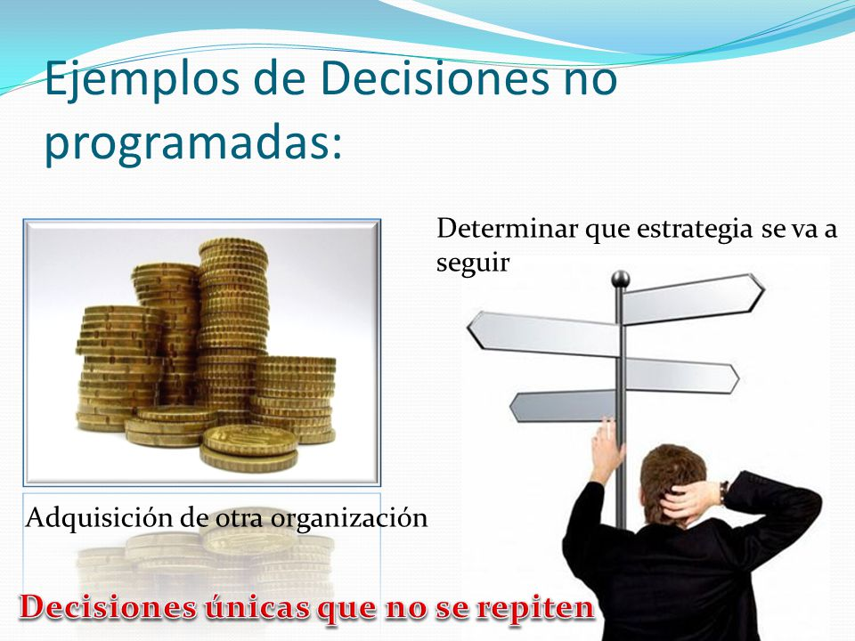 Ejemplos de Decisiones no programadas: Adquisición de otra organización Determinar que estrategia se va a seguir