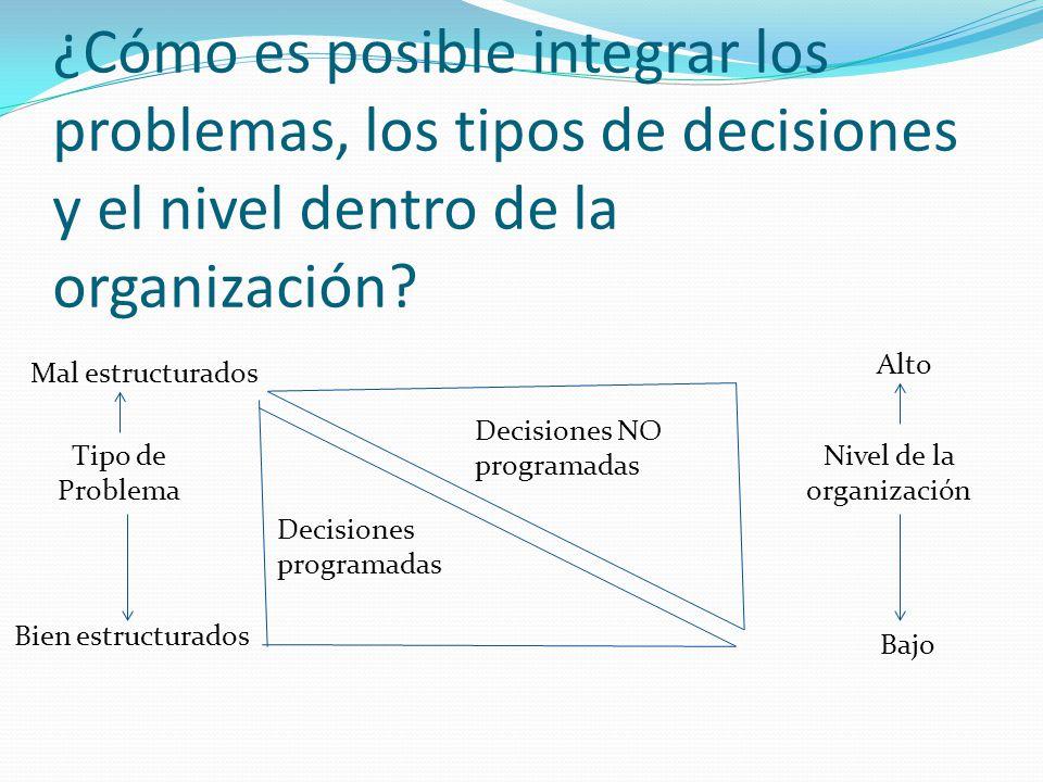 ¿Cómo es posible integrar los problemas, los tipos de decisiones y el nivel dentro de la organización.