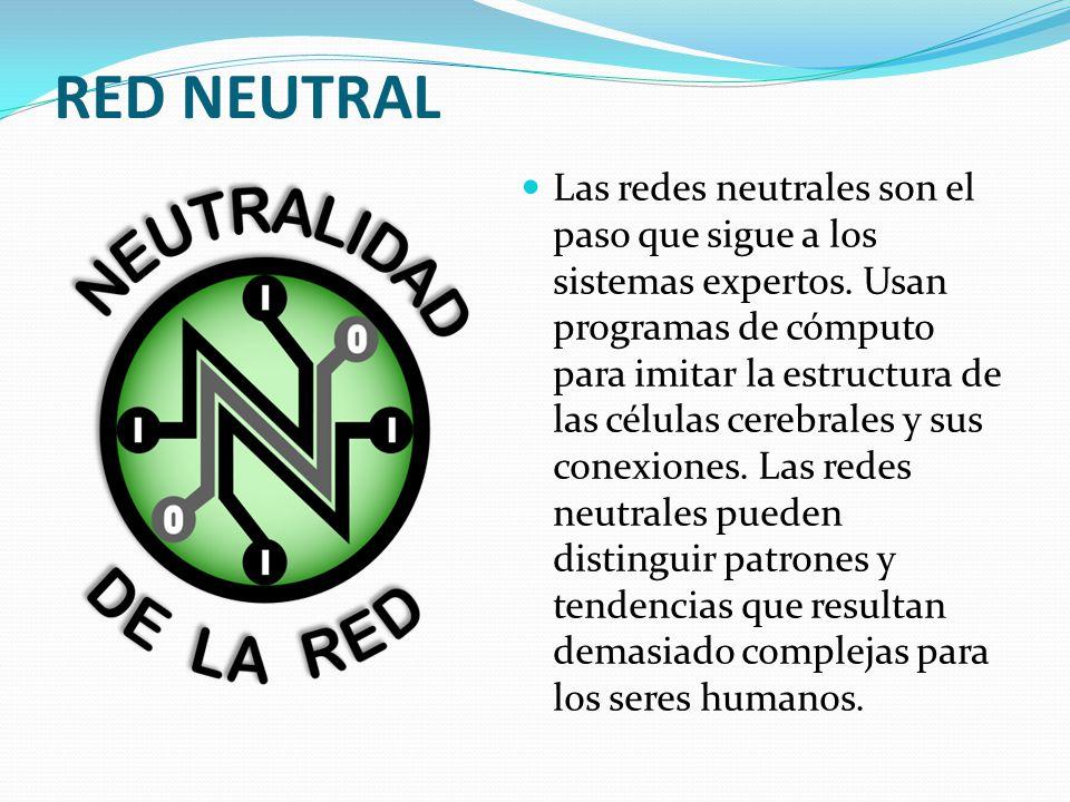 RED NEUTRAL Las redes neutrales son el paso que sigue a los sistemas expertos.