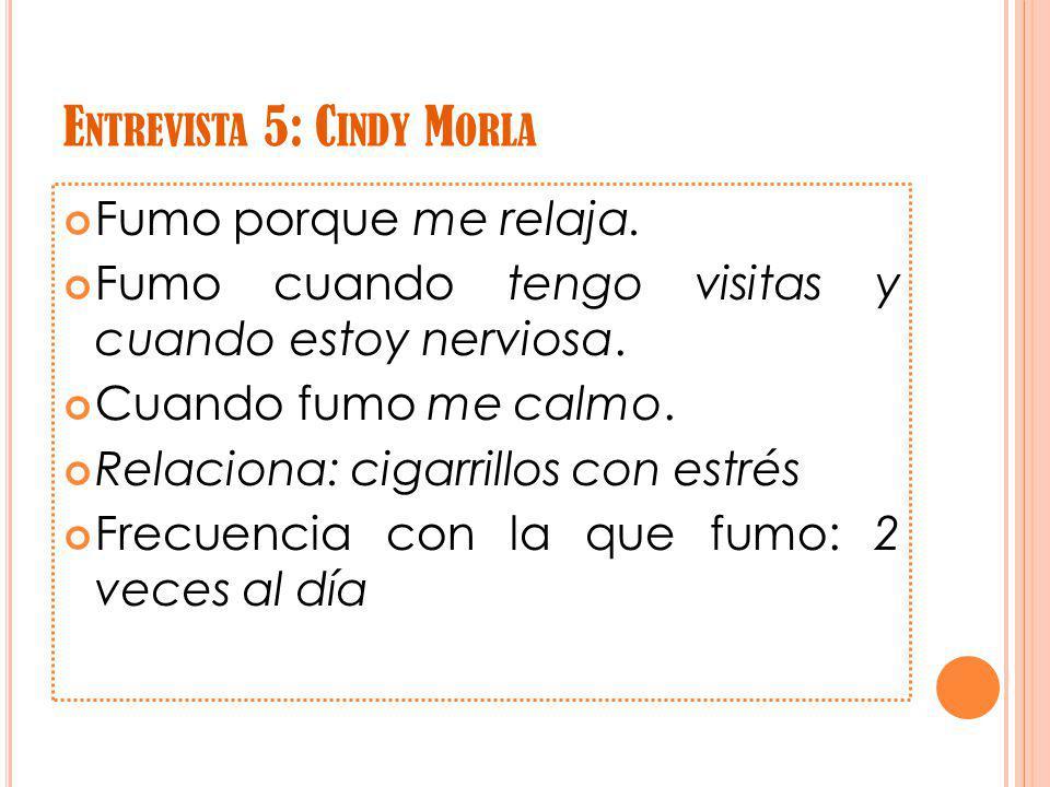 E NTREVISTA 5: C INDY M ORLA Fumo porque me relaja.