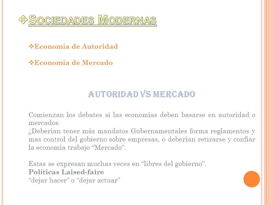 Economía de Autoridad Economía de Mercado Autoridad vs mercado Comienzan los debates si las economías deben basarse en autoridad o mercados. ¿Deberían