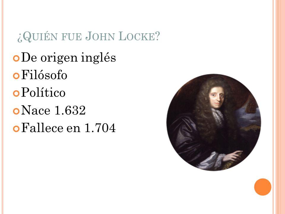 ¿Q UIÉN FUE J OHN L OCKE ? De origen inglés Filósofo Político Nace 1.632 Fallece en 1.704