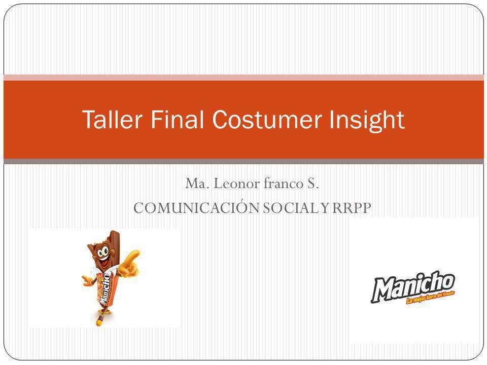 Ma. Leonor franco S. COMUNICACIÓN SOCIAL Y RRPP Taller Final Costumer Insight